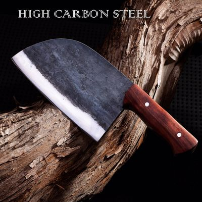 Handmade Chinese Cleaver Carbon Forged Steel Chef Knife Canvas Sheath Kitchen Knives $108.50
