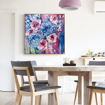 Abstract floral paintings on Canvas art blue purple extra Large framed wall art picture original painting flower oil painting Rose painting $129.00