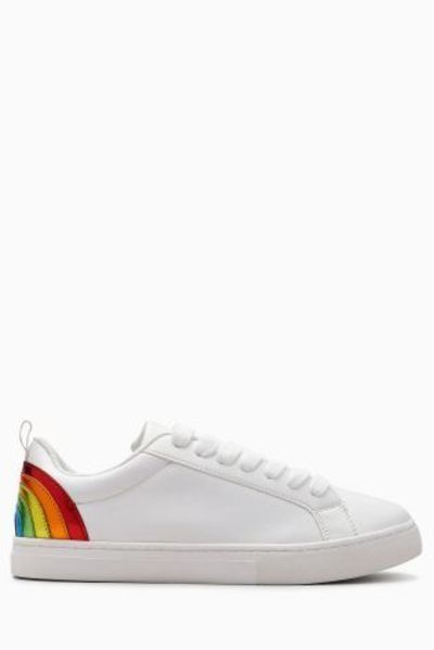 Buy White Rainbow Lace-Up Trainers (Older Girls) from the Next UK online shop
