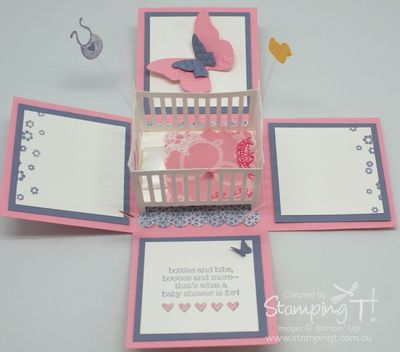 Stampin' Up! Stamping T! Crib Exploding Box Girl Open 2