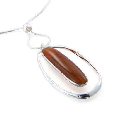 Rectangle Stone Necklace - Silver/Brown
