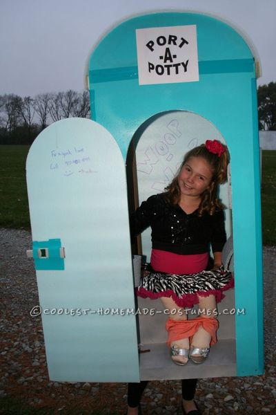 We took Styrofoam and made walls and painted the the color of most port a potty's. I used duck tape to tape them together and cut out a door put a white ro