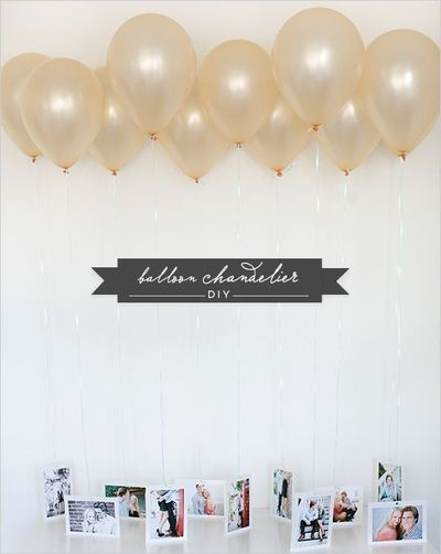 DIY Balloon chandelier- Unique way to display photos or table numbers