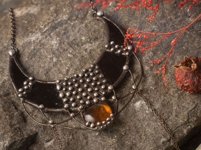 Pendant Black Crescent Pendant, Armor Necklace, Witchcraft jewelry, Gothic jewelry, witchy, Amulet, witch jewelry $34.00