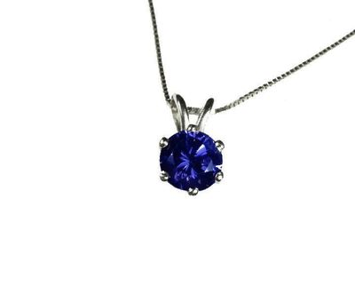 "Necklace Sapphire Pendant 3mm 3.5mm 4 mm 4.5mm 5 mm in 14K White or Yellow gold including 16.5"" chain Minimalist pendant $255.00"