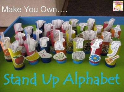 We have found a new and fun way to re-use and recycle our toilet rolls and bottle tops and create them into a wonderful toy to help promote learning about alpha