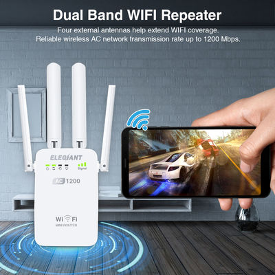 ELEGIANT AC1200Mbps Wireless WiFi Repeater Router AP Dual Band With High Gain 4 External Antennas