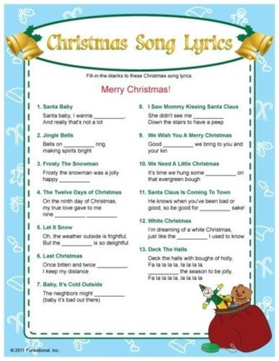 Christmas Song Lyrics fill-in-the blanks game. I bet this would bring ...