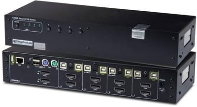 K524E-SH, K524, 4 Port Dual Head Secure DisplayPort KVM Switch allows users to share peripherals - keyboard, video, mouse and audio - between four computers from different security classifications.