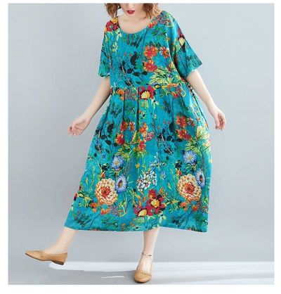 PLUS SIZE WOMEN BEACH DRESS SUMMER SUNDRESS COTTON FEMALE VESTIDOS LADY LONG DRESS PRINT FLORAL LOOSE BIG SIZE 5XL 6XL