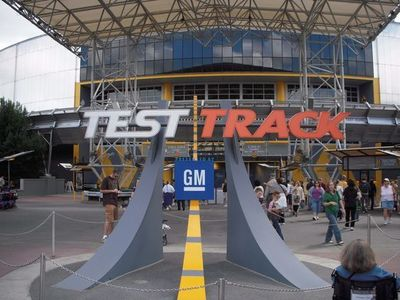 Got stuck on test track on the outdoor part of the ride with five random strangers.