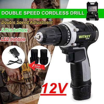 12V Cordless Rechargeable Electric Drill 2 Speed Power Drills Driver W/ Li-ion Battery