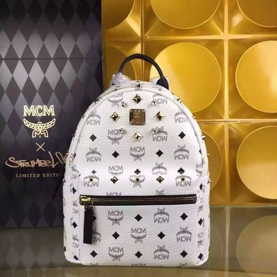 MCM Small Stark Crystal Four Studded Backpack In White