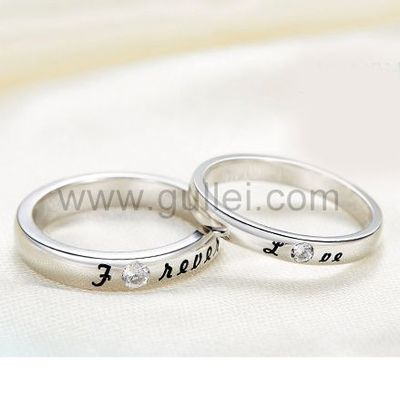 Gullei.com White Gold Plated Forever Love Customized Promise Rings Set