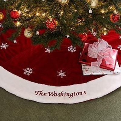 """This Red Velvet """"Winter Wonderland"""" Personalized Christmas Tree Skirt is beautiful! You can have it personalized for free at PersonalizationMall! #Christmas #TreeSkirt"""