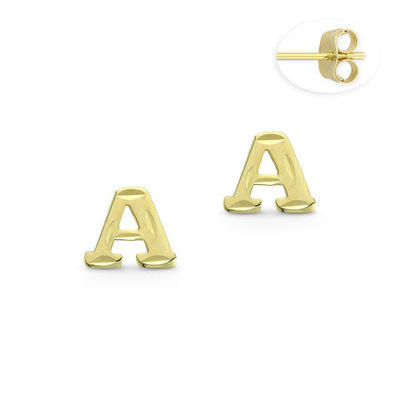 """Initial Letter """"A"""" Stud Earrings with Push-Back Posts in 14k Yellow Gold - BD-ES051A-14Y"""
