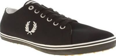 Fred Perry Black Kingston Twill Mens Trainers What could be more timeless than the Fred Perry Kingston Twill? How about the popular silhouette in a monochrome colourway? The black fabric upper is streamlined with white line detailing and features http://w...