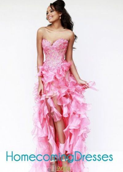 Lovely Pink Embroidered Strapless Organza Ruffled High Low Dress