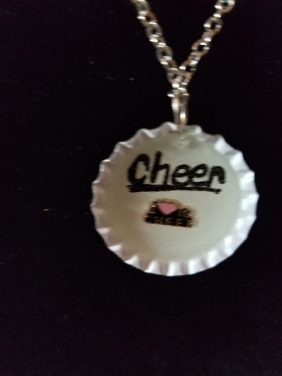 Bottle Cap Necklaces- laugh, cheer, shine, basketball $7.00