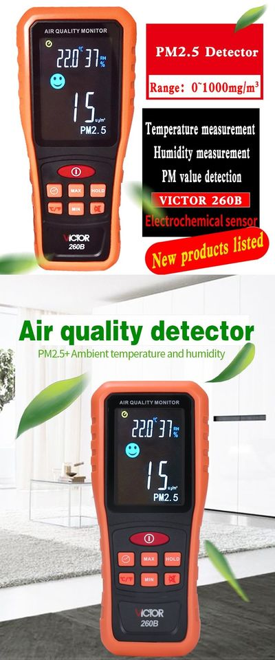VICTOR 260B Handheld PM2.5 Detector Range 0~1000mg/m3 Air Quality Tester Temperature and Humidity Measurement