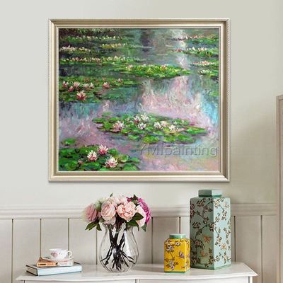 Claude Monet Water lilies Oil painting on Canvas Reproduction Flower painting lotus pond Wall Pictures for Living Dinning room home decor $79.00