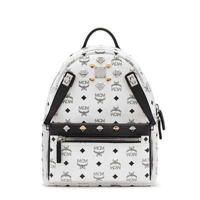 MCM Small Dual Stark Odeon Backpack In White