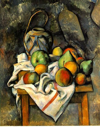 'The Ginger Jar' (c.1895) by French Post-Impressionist painter Paul Cezanne (1839-1906). Oil on canvas. 73.3 x 60.3 cm. Collection: The Barnes, Philadelphia. via wikipaintings