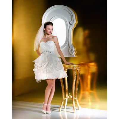 Charming Ball Gown Sweetheart Beading Ruching Short/Mini Wedding Dresses - Dressesular.com