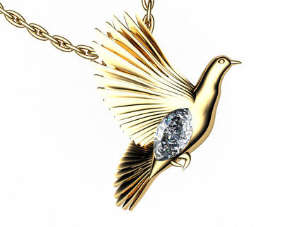 Pendant Jewelry Animal Pendant Dove Pendant Wings Pendant Diamond Pendant 14K yellow gold Peace Pendant Dove Bird Celtic Diamond Marquise $1595.00