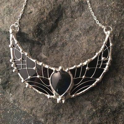 Black Moonstone Necklace- New Moon, Crescent LARGE MOON Charm Pendant, Sterling Silver, Dark Stained Glass, fantasy charms, elf accessory $98.00