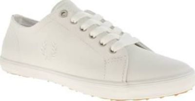 Fred Perry White Kingston Leather Womens Trainers Fred Perry have gone mono this season, as the Kingston Leather lands in an all-white colourway. Dressed in a leather upper, embroidered Laurel Wreath branding appears at the midsection. A slim rubber http:...