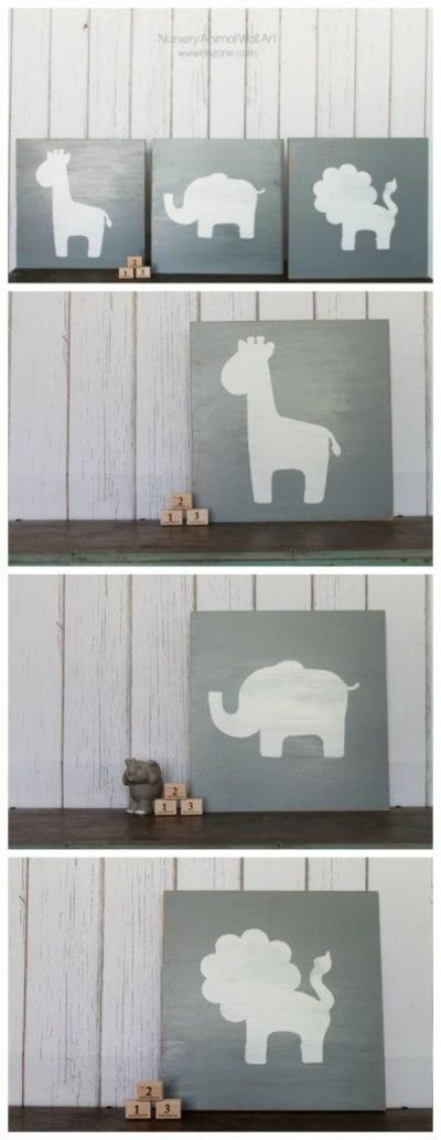 Nursery Wood Wall Decor : Nursery animal wall art using wood paint a stencil