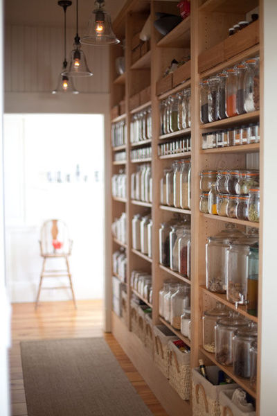 """Emersonmade """"We designed our pantry so that everything would be visible. We have mostly unrefined ingredients because we don't eat sugar, flour and processed ingredients so we just line it all up in here and grab what we need."""""""