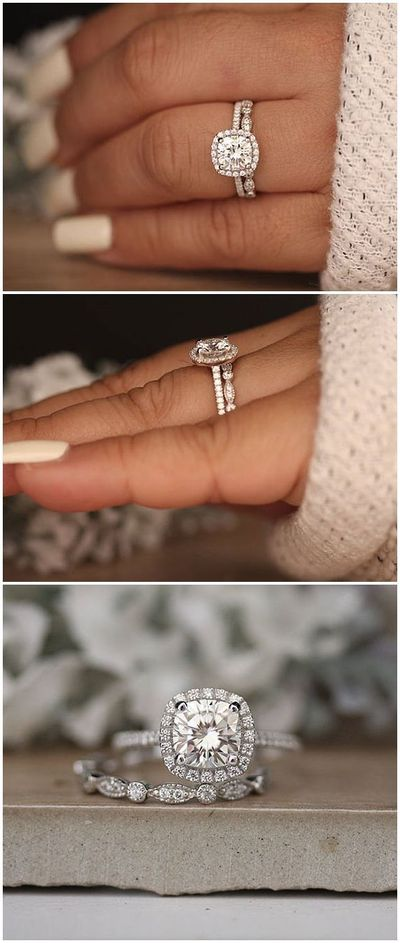 1.20ct Moissanite Engagement Ring, Cushion 7mm Moissanite 14k White Gold and Diamond Ring, Diamond Half Eternity Milgrain Band, Promise Ring