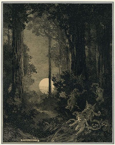 Moonrise in a Wood, Franklin Booth for Scribners 1909