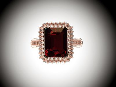 18K Rose Solid Gold Red Emerald cut Lab Tourmaline, Unique Engagement Ring surrounded with 76 Diamonds $1670.00