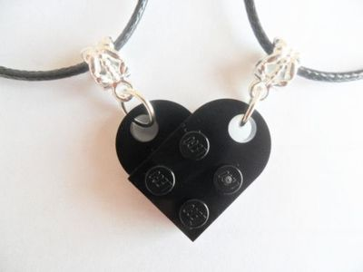 Black Lego Couples Heart His and Her Necklace Set, Black Lego heart necklace set