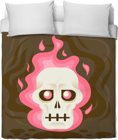 Skull candy Flames with Brown Duvet Cover $120.00