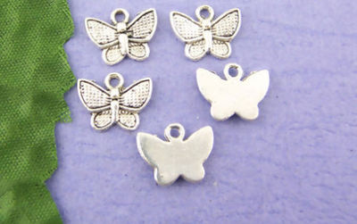 Pack of 50 Silver Tone Butterfly Charms. Nature Theme Insect Animal Pendants. 13mm x 10mm £5.99