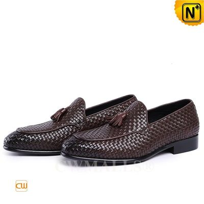 Men Leather Shoes | CWMALLS® Houston Woven Tassel Leather Shoes CW708118 [Off-site Delivery]