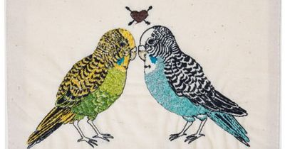 parakeet love embroidered stationery - by Coral & Tusk--my kind of valentines day card