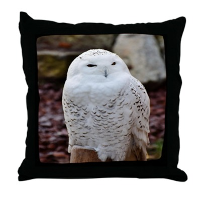 Snow Owl Throw Pillow
