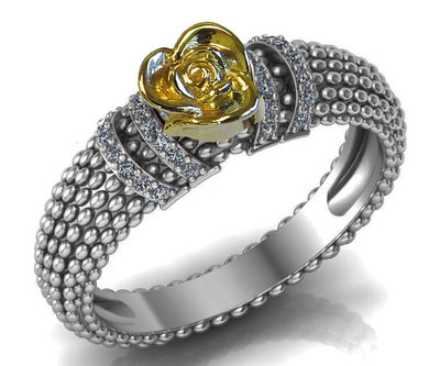 Unique Engagement Ring Yellow Rose in Bubble 18K White Gold Flower Ring Art Nouveau Floral ring Engagement Gift For Her Gift $1190.00