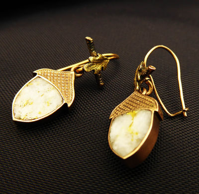 Rare Unique Gold in Quartz Victorian Acorn Earrings for Pierced Ears in 14K Gold Setting Antique 1870s $1800.00