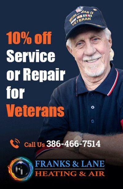 Franks and Lane Heating and Air is providing 10% off on service or repair for Veterans. Contact us at 386-466-7514 to grab the deal.