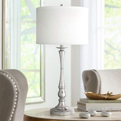 Quoizel Ambrose 3-Light Brushed Nickel Table Lamp