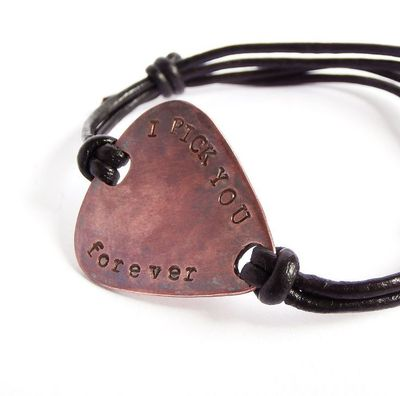 Men/Women Custom Copper Guitar Pick Bracelet, Leather Bangle, Personalized Text, Message, Names, Initials, Wedding Anniversary Father Gift