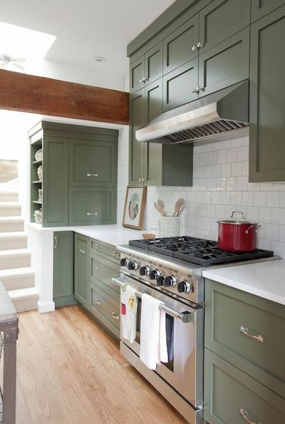 """These lovely olive green cabinets can be found on the television show """"Love It or List It: Vancouver"""""""