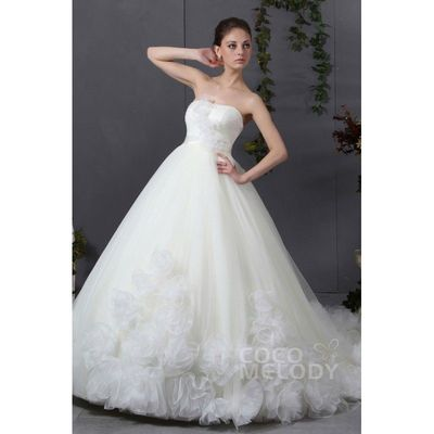 Latest A-Line Sweetheart Chapel Train Tulle Wedding Dress CWJT13005 - Top Designer Wedding Online-Shop