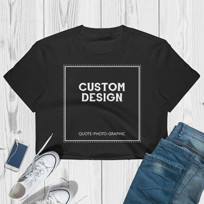 Custom crop top for women- Personalized Women's Crop Tee - Fine Jersey Short Sleeve Cropped T-Shirt Customize With your photo Logo Graphic $28.09